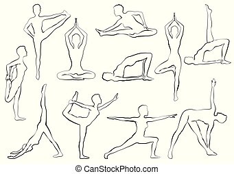 Yaga asana, woman doing yoga or pilates exercise, relaxation and meditation