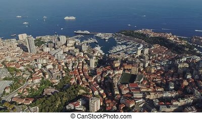 Yahts sea port in Monaco Monte Carlo city France town with...