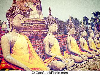 yaichaimongkol, タイ, ayutthaya, ワット, 仏