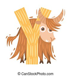 Yak and the letter Y. Vector illustration on a white background.