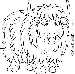 Yak - Black and white vector illustration of a big yak in ...
