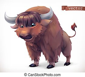 Yak, buffalo cartoon character. Funny animal, 3d vector icon
