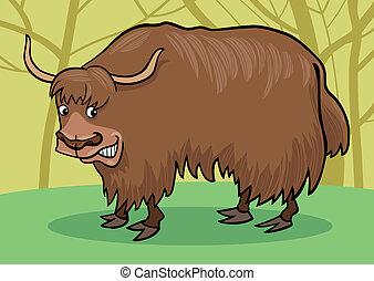 Yak bull - cartoon illustration of asian yak bull