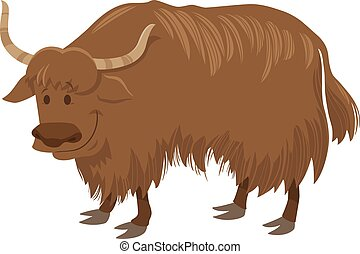 yak cartoon wild animal character - Cartoon Illustration of ...