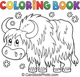 yak, thème, coloration, 1, livre