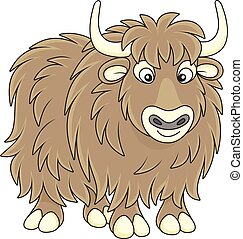 Yak - Vector illustration of a big brown yak bull in cartoon...