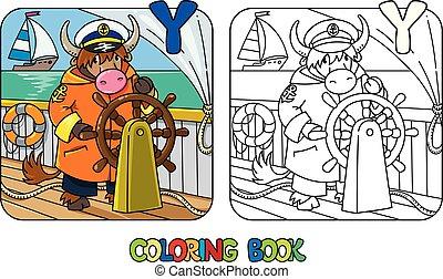 yak, yachtsman, book., alfabeto, coloração, abc, y