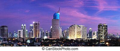 yakarta, ciudad, ocaso