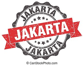 yakarta, redondo, cinta, sello