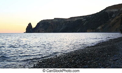 Yakhontovy beach near the cape Fiolent in the evening, the Crimea