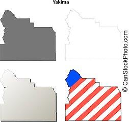 Yakima County, Washington outline map set
