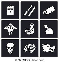 Yakuza, Japans organized crime icons set. Vector ...