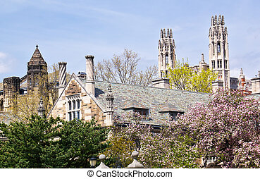Yale University Sterling Law Building Ornate Victorian Towers New Haven Connecticut