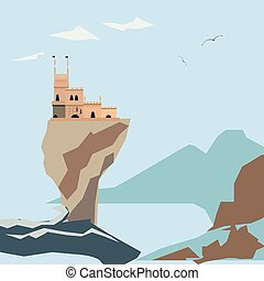 Yalta Swallow Nest on clif and sea background