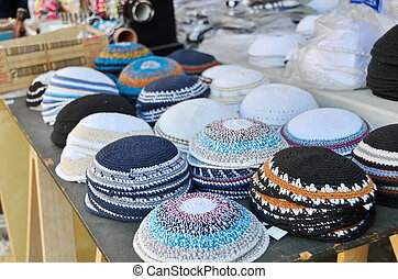 Yamakas in Jaffa - Yarmulkes or Yamakas sold in preparation...