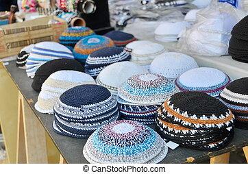 Yarmulkes or Yamakas sold in preparation for Passover in Jaffa Flea Market, Tel Aviv, Israel