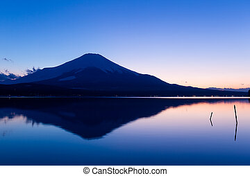 yamanaka, solnedgång, insjö,  fujisan