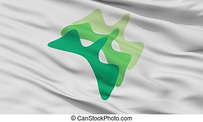 Yamanashi City Flag, Japan, Yamanashi Prefecture, Closeup ...