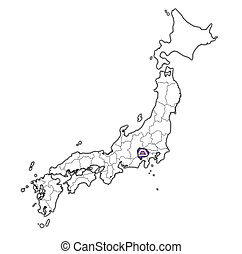 yamanashi prefecture on administration map of japan - flag ...