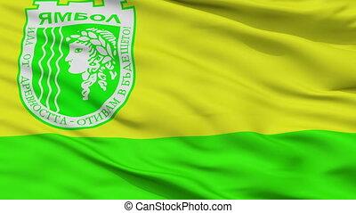 yambol, ville, drapeau, closeup, bulgarie