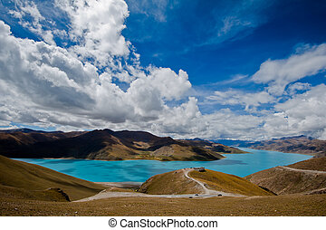 Yamdrok Lake, one of the sacred lakes in Tibet, China