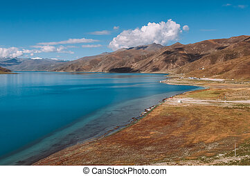Yamdrok Lake, one of the three largest sacred lakes in Tibet