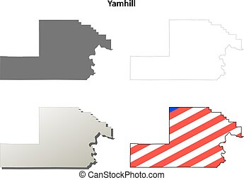 Yamhill County, Oregon blank outline map set
