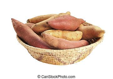 Yams and sweet potatoes - Basket of whole yams and sweet ...