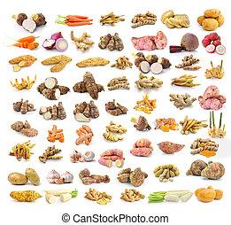 Yams, potatoes, ginger, galangal, turmeric, cinnamon, garlic...