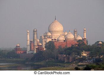 yamuna, mausoleo, (crown, mahal, palaces), india, río, ...