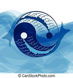 Yan yin symbol of harmony and balance with koi...