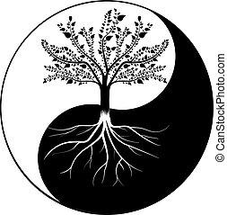 yang, árbol, yin