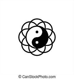 yang, テンプレート, ベクトル, yin, ロゴ