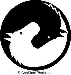 yang, caballo, yin