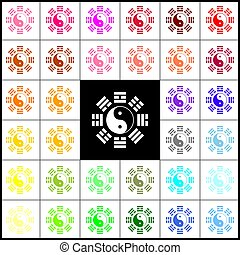 yang de yin, bagua, arrangement., señal