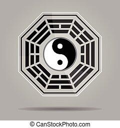 yang de yin, bagua, símbolo.