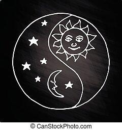 yang de yin, luna, por la noche, en, pizarra