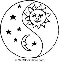 yang de yin, luna, por la noche