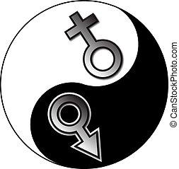 yang de yin, macho, hembra