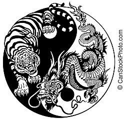 yang, feuerdrachen, tiger, yin