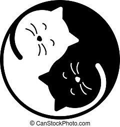 yang, gato, yin