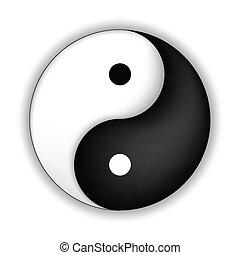 yang, jelkép, vektor, yin