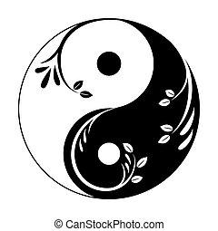 yang, leaves., yin - yang, ベクトル, 装飾用である, illustration., feminine., 抽象的, 小枝, 統一, シンボル, yin, シンボル。, 男らしい, アイコン