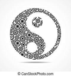 yang, símbolo, marca, ying, engranajes