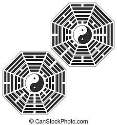yang, símbolo, yin, arreglo, bagua, dos, variante, trigrams.