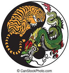 yang, symbol, feuerdrachen, yin, tiger