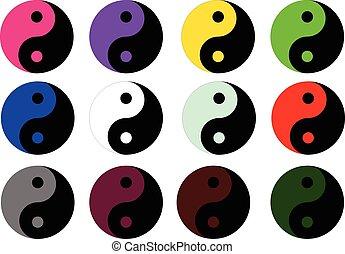yang, symbole, coloré, yin