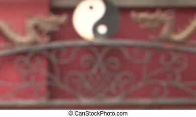 yang, symbole, dragons, yin, venir, foyer