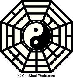 yang, trigrams, negro, ilustración, yin, bagua, blanco