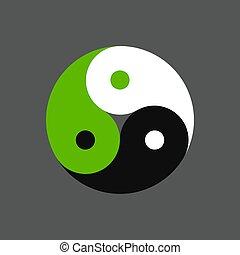 yang, triplo, yin, símbolo